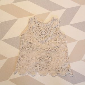Girls Tank Top Lace Material in White